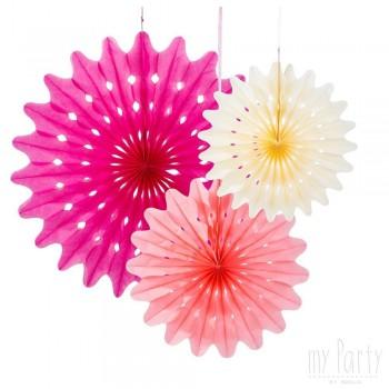 Set abanicos de papel tonos rosas - 3 uds