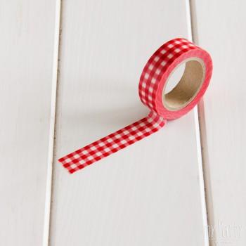 Washi Tape Cuadros Rojo