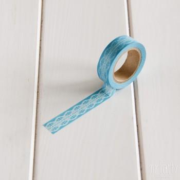 Washi Tape Azul Puntilla Blanca