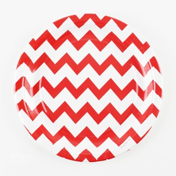 platos decoracion chevron rojo