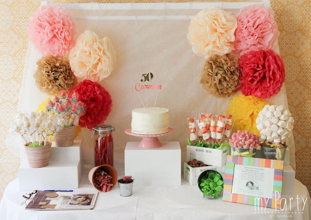 un 50 cumplea os muy floreado my party by noelia On ideas para cumpleanos de 50 anos