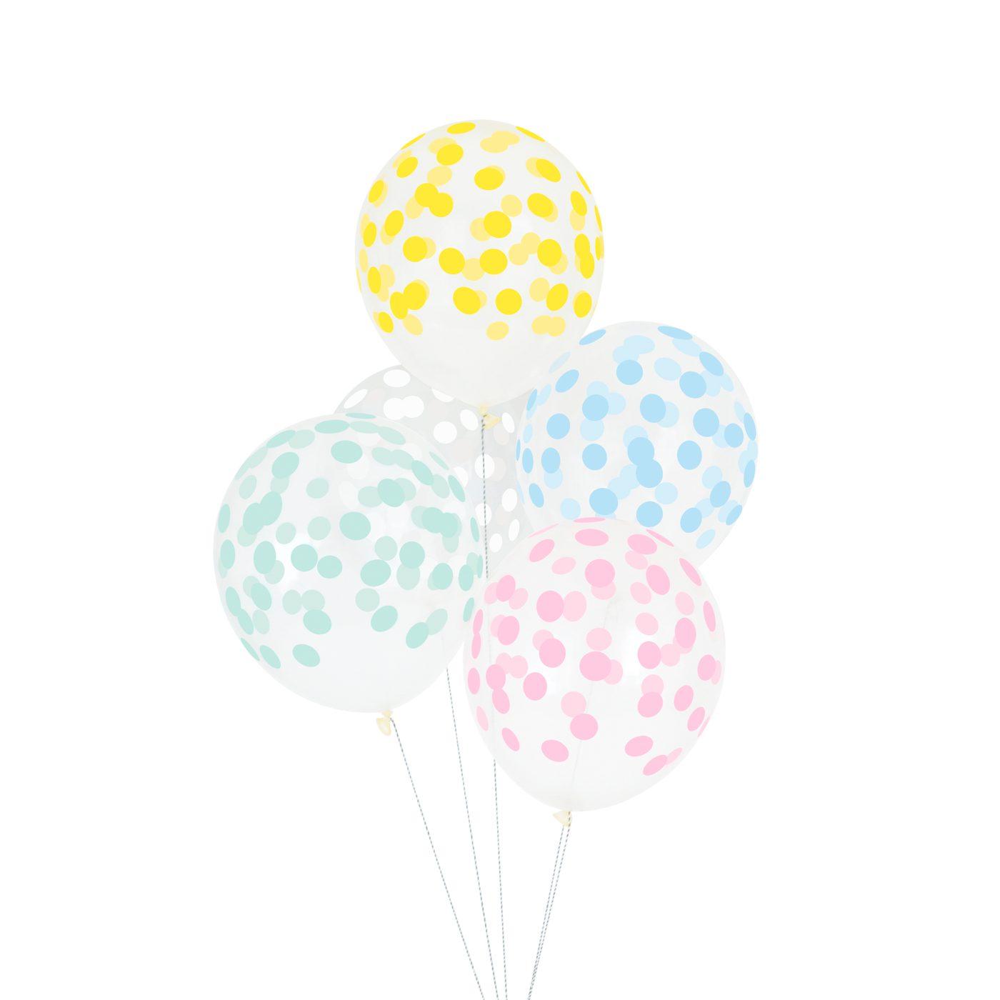 Globos confeti colores pastel 5 uds My Party by Noelia