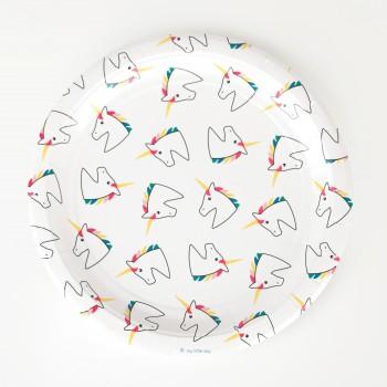 platos papel unicornio