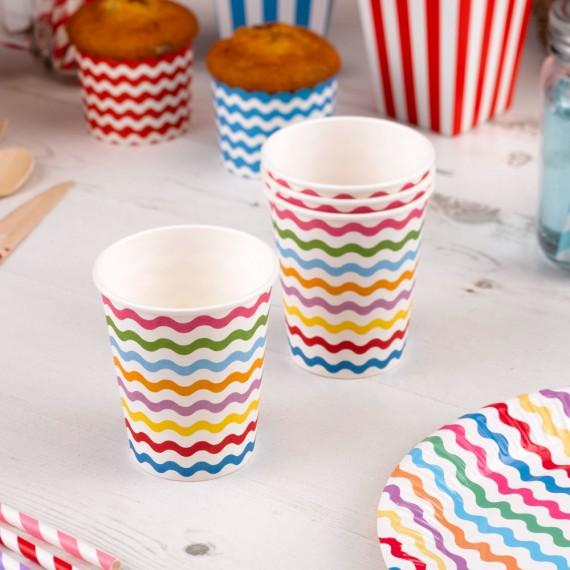 vasos de papel multicolor