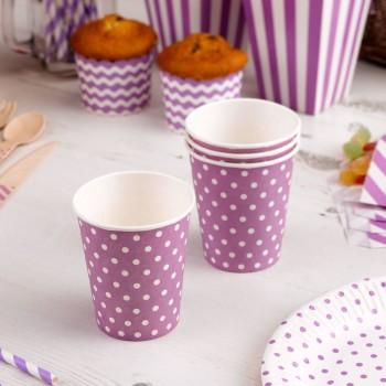 vasos de papel morado