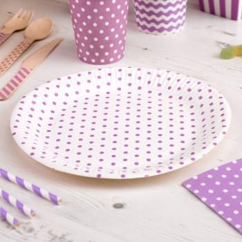Platos de papel morado