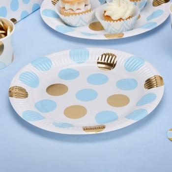 plato de papel azul y dorado