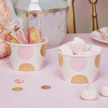 recipiente de papel rosa y dorado