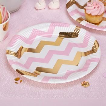 plato de papel rosa y dorado