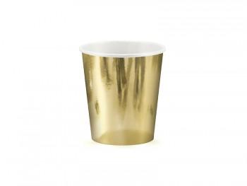 vaso de papel dorado